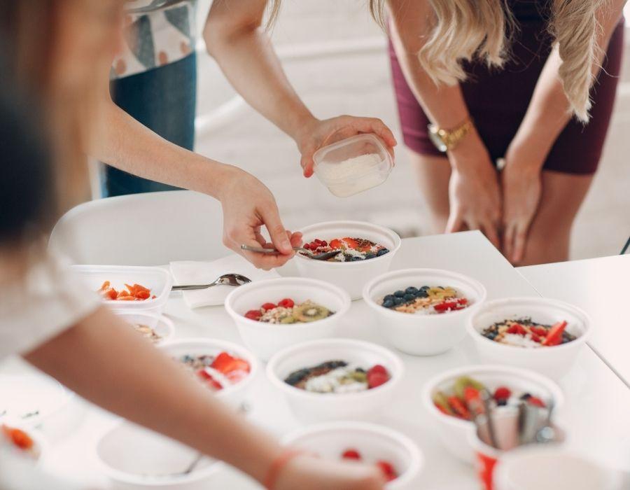 students prepare food
